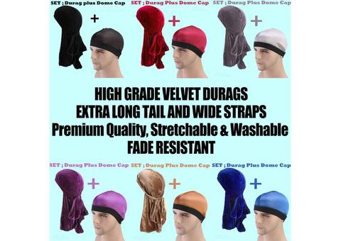 Velvet Durags+CAP-bandanas/Turbans/Hats/Caps/hair loss,Muslim headscarves,Bikers,Hip-Hop