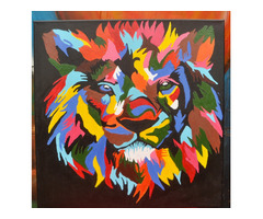 Lion on Canvas painting on sale