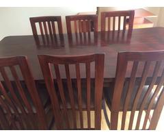 Natural finish 8 Seater Mahogany Wood Dining Table