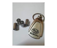 Branded Car styling Car Wheel Tire Valves (4pcs) + Key Chain