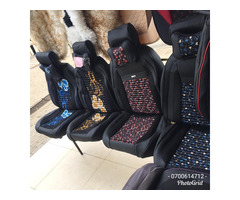 Luxury Synthetic Leather with Floral Pattern Car Seat Covers with Neck Pillows
