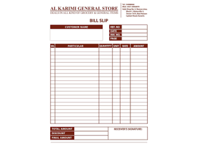 Receipt Books /Invoice Books /Delivery Books Printing