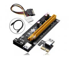 PCI-E 1x to 16x Mining Machine Enhanced Riser Card Adapter with USB 3 and SATA Power Cable