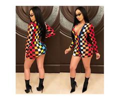 Fashion Long Sleeve Printed Plaid Playsuit