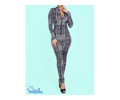 Fashion RK Black Round Neck Zip-up Stretch Jumpsuits