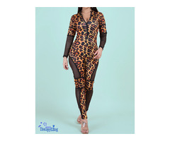 Fashion Zip-up Tight Stretch leopard Jumpsuits