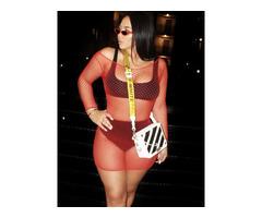 Fashion RK Red Long Sleeve-fishnet Mesh Two Pcs Set Swimwear-swimsuits-bikinis