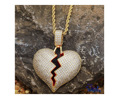 High Quality Luxury Brand Iced Out Micro Pave CZ Stone Broken Heart Necklace With Rope Chain