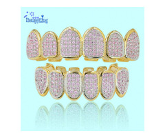 Premium Pink CZ Stones Hip Hop Iced Out Teeth Grillz-Punk Teeth grillz Rapper Jewelry