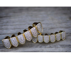 Premium White Shinny Hip Hop Iced Out Teeth Grillz -Punk Teeth Grill/slugs Rapper Jewelry