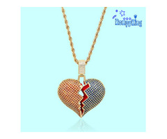 High Quality Necklaces Luxury Brand Iced Out Micro Pave Broken Heart Pendant With Rope Chain