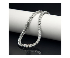 Fashion High Quality Premium Silver Iced Out Tennis Chain- 1 Row Necklaces