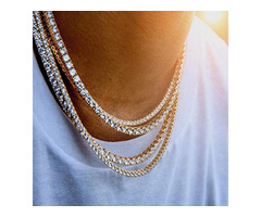 Fashion High Quality Premium Gold Iced Out Tennis Chain- 1 Row Necklaces