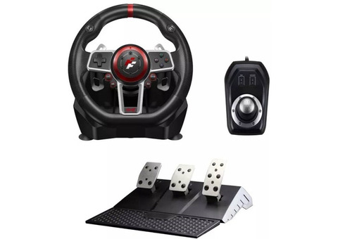 Suzuka 900R racing wheel set with Clutch pedals and H-shifter for Xbox, Xbox 360, PS3, PS4, Wii, PC